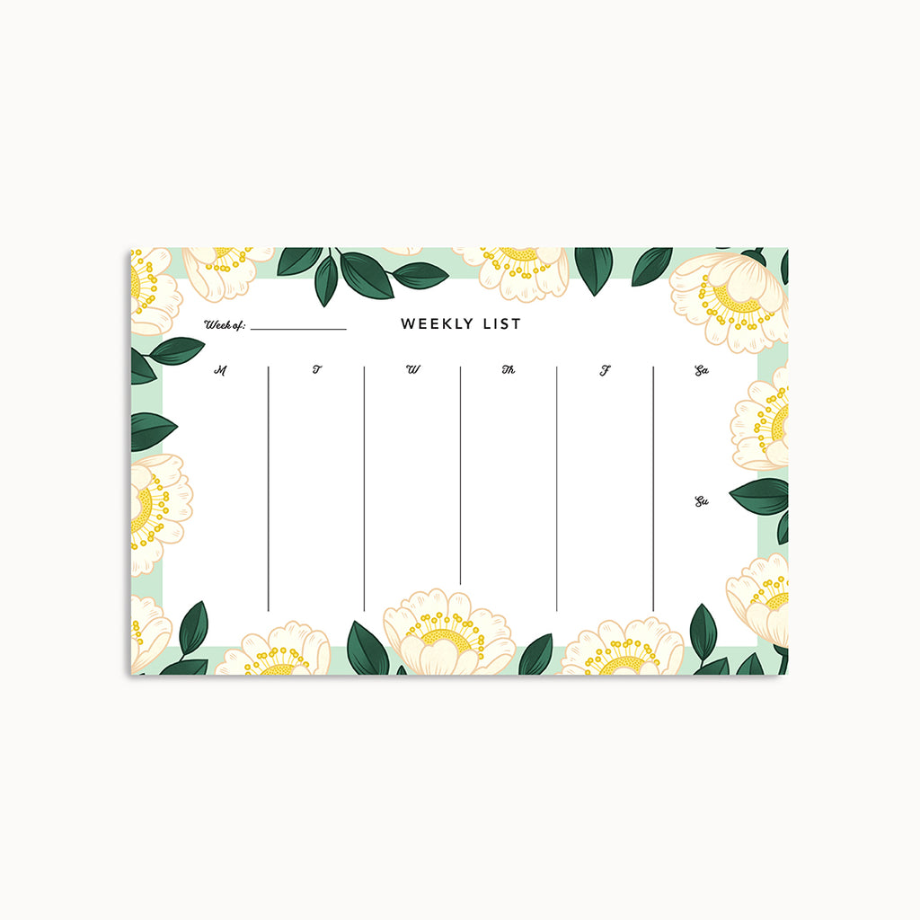 Blossom Weekly Planner Pad - Linden Paper Co. , Weekly Pad - Stationery Brand, Linden Paper Co. Linden Paper Co., Linden Paper Co.  Linden Paper Co.