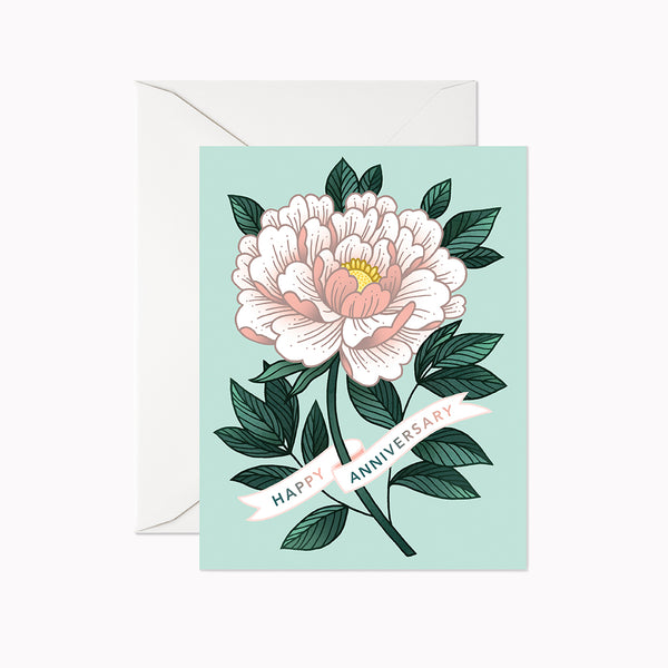 Happy Anniversary Peony Card - Linden Paper Co. , Greeting Card - Stationery Brand, Linden Paper Co. Linden Paper Co., Linden Paper Co.  Linden Paper Co.