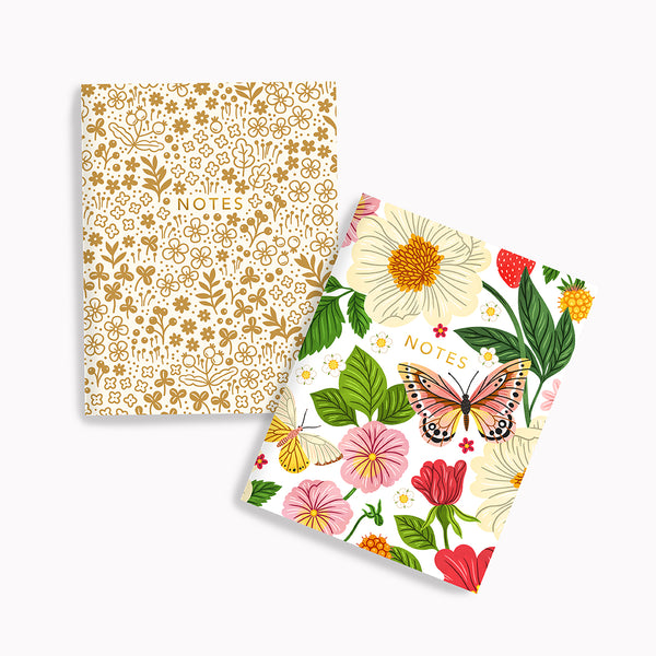 Golden Meadows + Butterfly Floral Pocket Notes - Linden Paper Co. , Pocket Notes - Stationery Brand, Linden Paper Co. Linden Paper Co., Linden Paper Co.  Linden Paper Co.