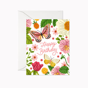 HAPPY BIRTHDAY BUTTERFLIES CARD - Linden Paper Co. , Greeting Card - Stationery Brand, Linden Paper Co. Linden Paper Co., Linden Paper Co.  Linden Paper Co.