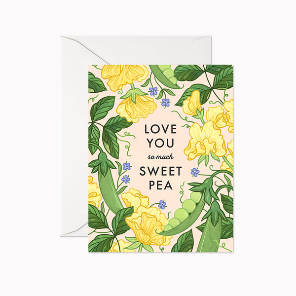 Sweet Pea Card - Linden Paper Co. , Greeting Card - Stationery Brand, Linden Paper Co. Linden Paper Co., Linden Paper Co.  Linden Paper Co.