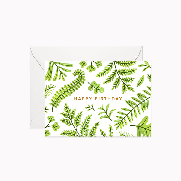 Summer Ferns Happy Birthday | Mini Card - Linden Paper Co. , Greeting Card - Stationery Brand, Linden Paper Co. Linden Paper Co., Linden Paper Co.  Linden Paper Co.