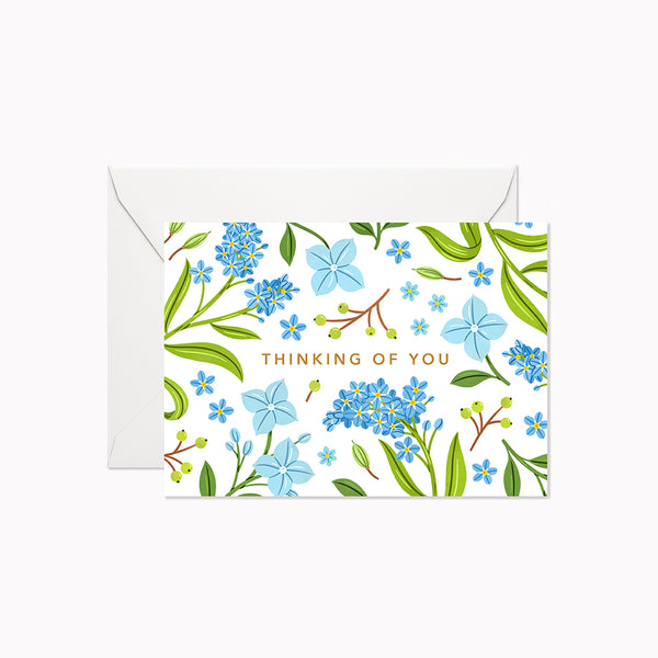 Blue Floral Thinking of You | Mini Card - Linden Paper Co. , Greeting Card - Stationery Brand, Linden Paper Co. Linden Paper Co., Linden Paper Co.  Linden Paper Co.