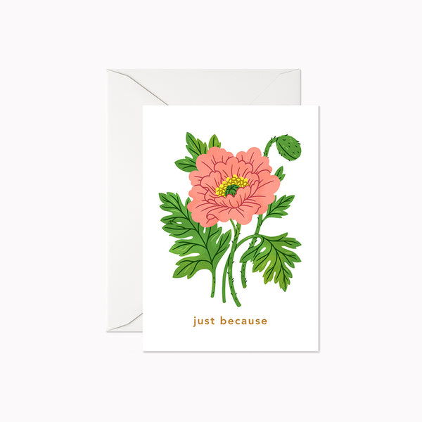 Just Because Pink Poppy | Mini Card - Linden Paper Co. , Greeting Card - Stationery Brand, Linden Paper Co. Linden Paper Co., Linden Paper Co.  Linden Paper Co.