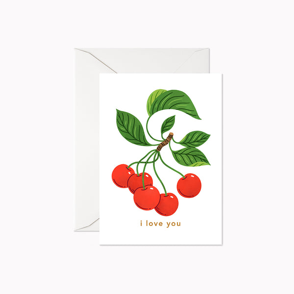 I Love you Cherries | Mini Card - Linden Paper Co. , Greeting Card - Stationery Brand, Linden Paper Co. Linden Paper Co., Linden Paper Co.  Linden Paper Co.