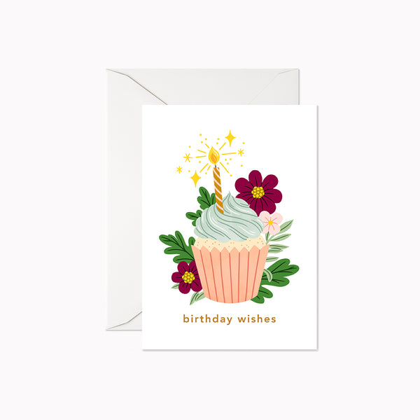 Birthday Wishes Cupcake | Mini Card - Linden Paper Co. , Greeting Card - Stationery Brand, Linden Paper Co. Linden Paper Co., Linden Paper Co.  Linden Paper Co.