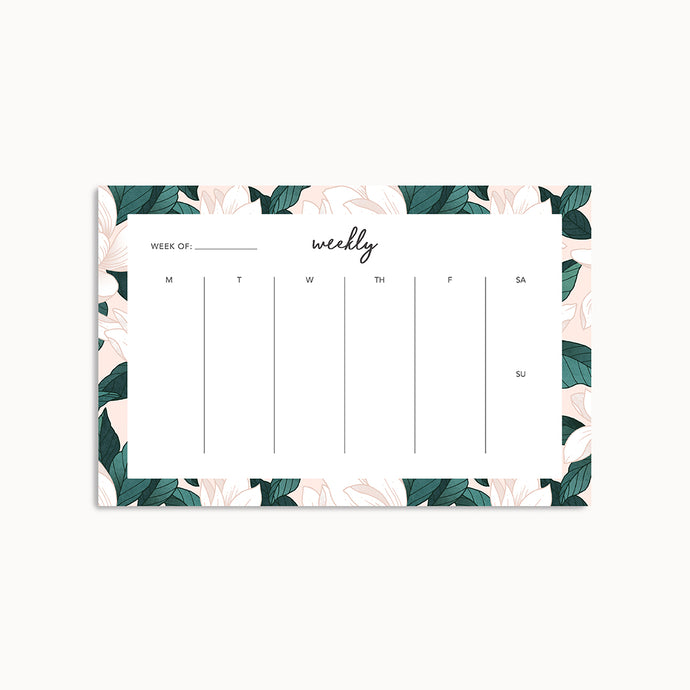 MAGNOLIA WEEKLY PLANNER PAD - Linden Paper Co. , Weekly Pad - Stationery Brand, Linden Paper Co. Linden Paper Co., Linden Paper Co.  Linden Paper Co.
