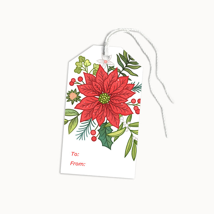 POINSETTIA GIFT TAGS - SET OF 8 - Linden Paper Co. , Gift Tags - Stationery Brand, Linden Paper Co. Linden Paper Co., Linden Paper Co.  Linden Paper Co.