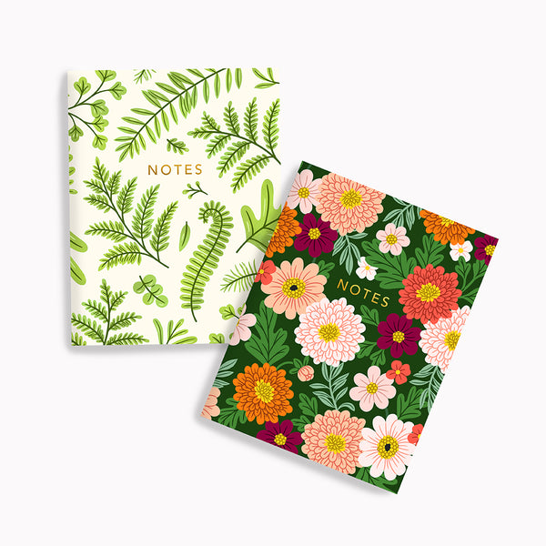 Summer Ferns + Chrysanthemum Floral Pocket Notes - Linden Paper Co. , Pocket Notes - Stationery Brand, Linden Paper Co. Linden Paper Co., Linden Paper Co.  Linden Paper Co.
