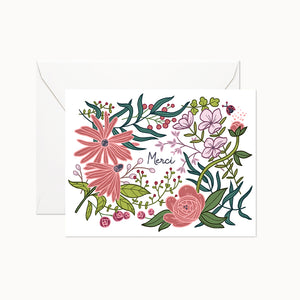 MERCI FLORAL CARD - Linden Paper Co. , Greeting Card - Stationery Brand, Linden Paper Co. Linden Paper Co., Linden Paper Co.  Linden Paper Co.