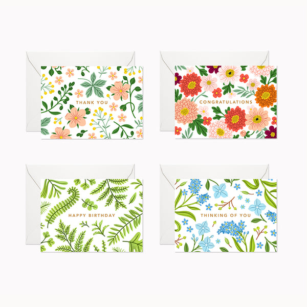 Floral Mini Cards | Assorted Set - Linden Paper Co. , Greeting Card - Stationery Brand, Linden Paper Co.  Linden Paper Co., Linden Paper Co.  Linden Paper Co.