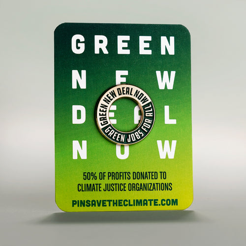 Green New Deal enamel lapel pin on backing card