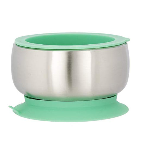 Avanchy Baby Stainless Suction Bowl & Lid – Green