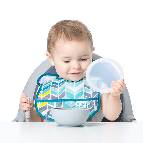 Bumkins – Silicone First Feeding Set with Lid & Spoon – Grey