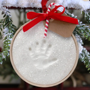 Claydough Handprint Ornament in Wood Ring