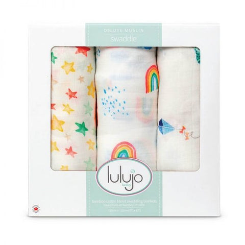 Lulujo – 3pk Bamboo Swaddle – High In The Sky