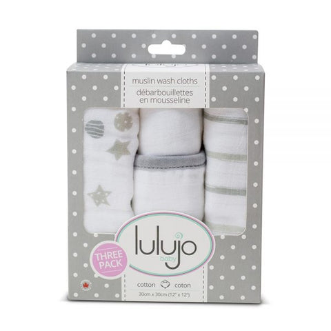 Lulujo – Muslin Wash Cloths – Grey