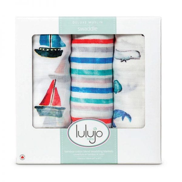 Lulujo – 3pk Bamboo Swaddle – Out At Sea