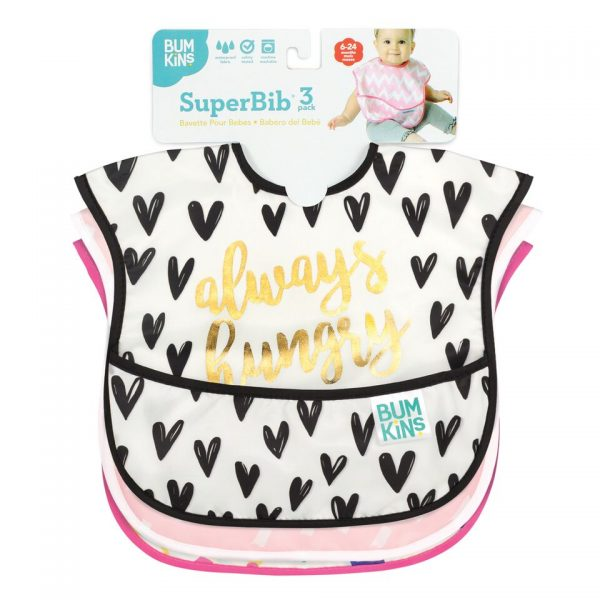 Bumkins – SuperBib 3PK, Girl – Always Hungry, Feed Me & Good Vibes