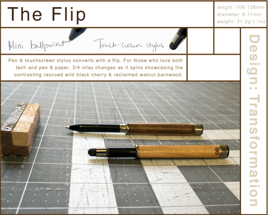 The Flip Wooden Pen and Screen Stylus