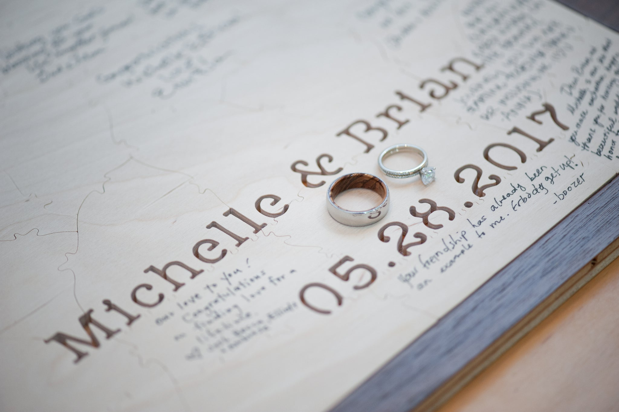 Hand-cut Custom Wooden Guestbook Puzzles from BELLA PUZZLES