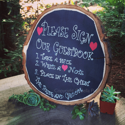 Chalkboard instruction sign for Bella Puzzle wedding guestbook