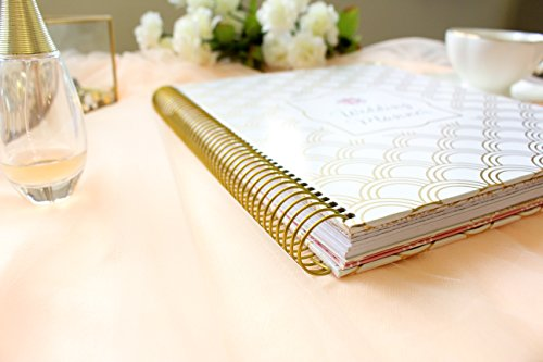 "Hard Cover Wedding Day Planner & Organizer - 9"" x 11"" - Gold Foil Scallops"