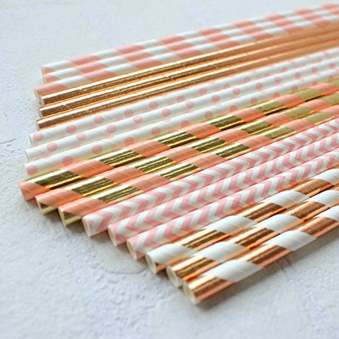 Rose Gold and Pink Biodegradable Drinking Paper Straws, 6 designs, 150 ct