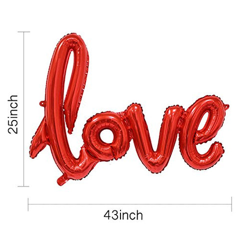 Metallic Red LOVE Balloon Banner