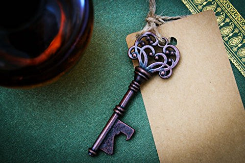 Rustic Vintage Key / Bottle Opener with Escort Card Tag and Twine (50 Pcs)