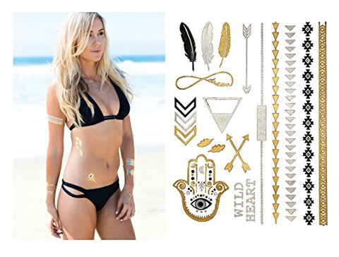 Temporary Metallic Tattoos - 75+ Boho Designs in Gold, Silver, Black and Turquoise
