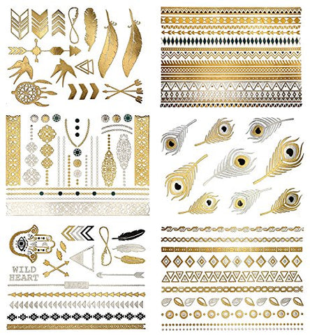Metallic Temporary Tattoos - Gold, Silver, Black and Turquoise