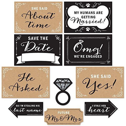 Engagement Announcement - Photo Prop Kit - 10 pcs