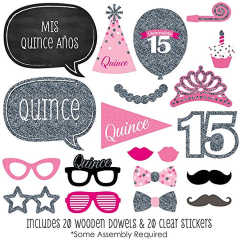 Quinceanera Party - Photo Booth Props Kit - 20 Count