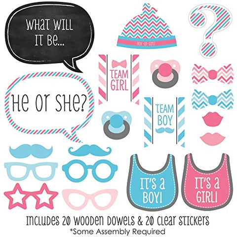 Baby Gender Reveal - Photo Booth Props Kit - 20 pcs