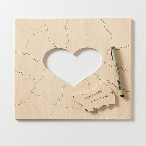 WOOD FRAME Puzzle with HEART Guest Book Alternative