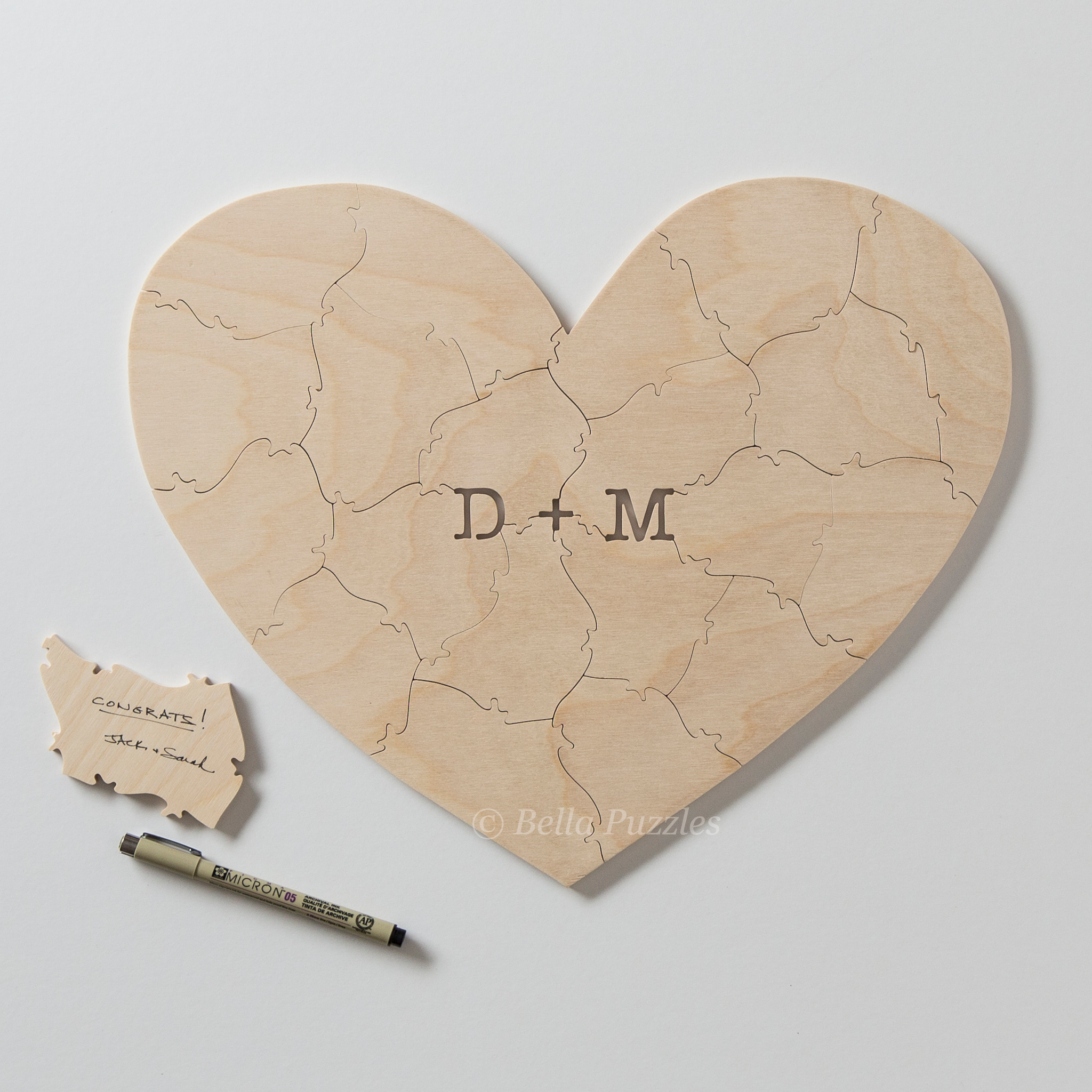 HEART Puzzle Wedding Guest Book
