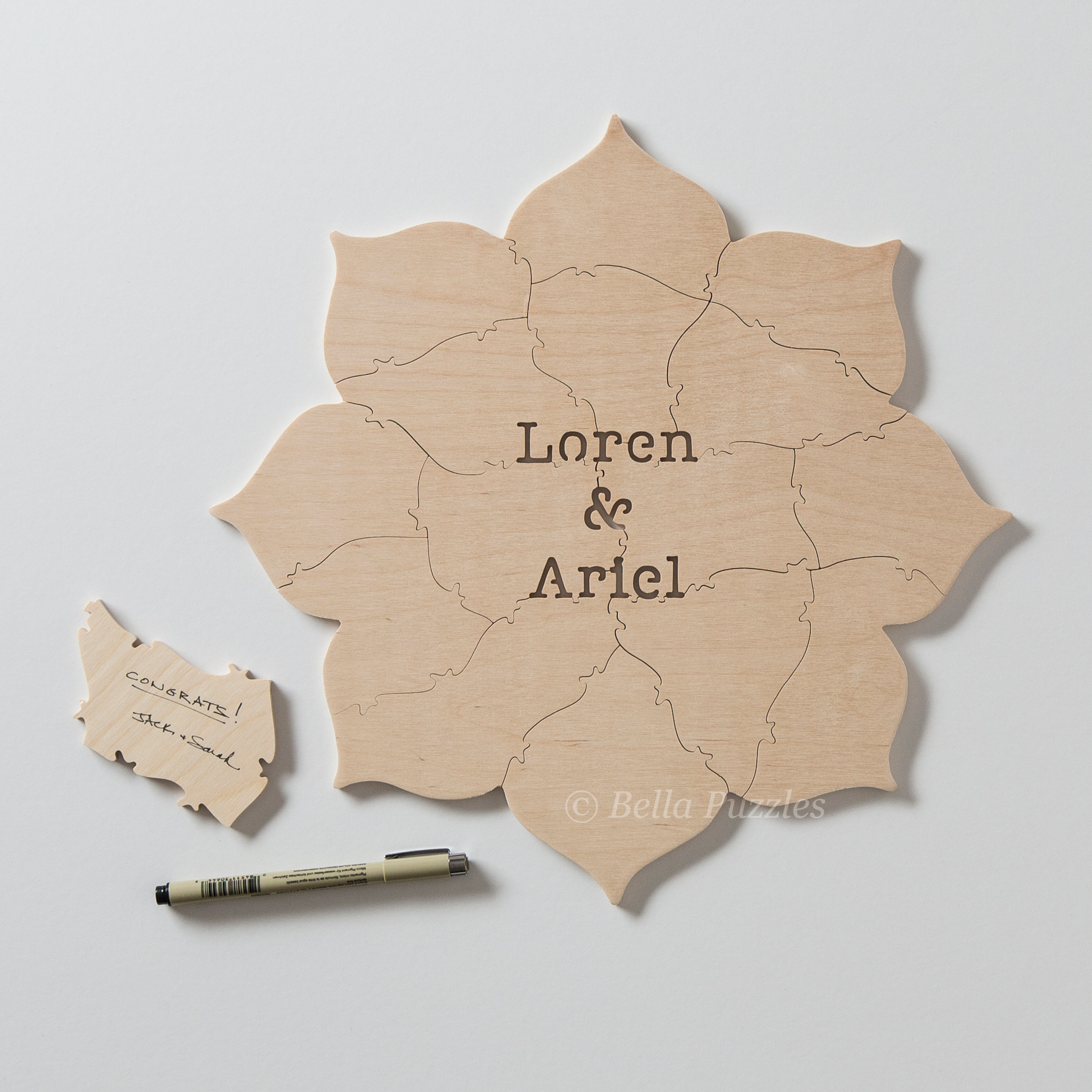 LOTUS BLOSSOM Puzzle Wedding Guest Book