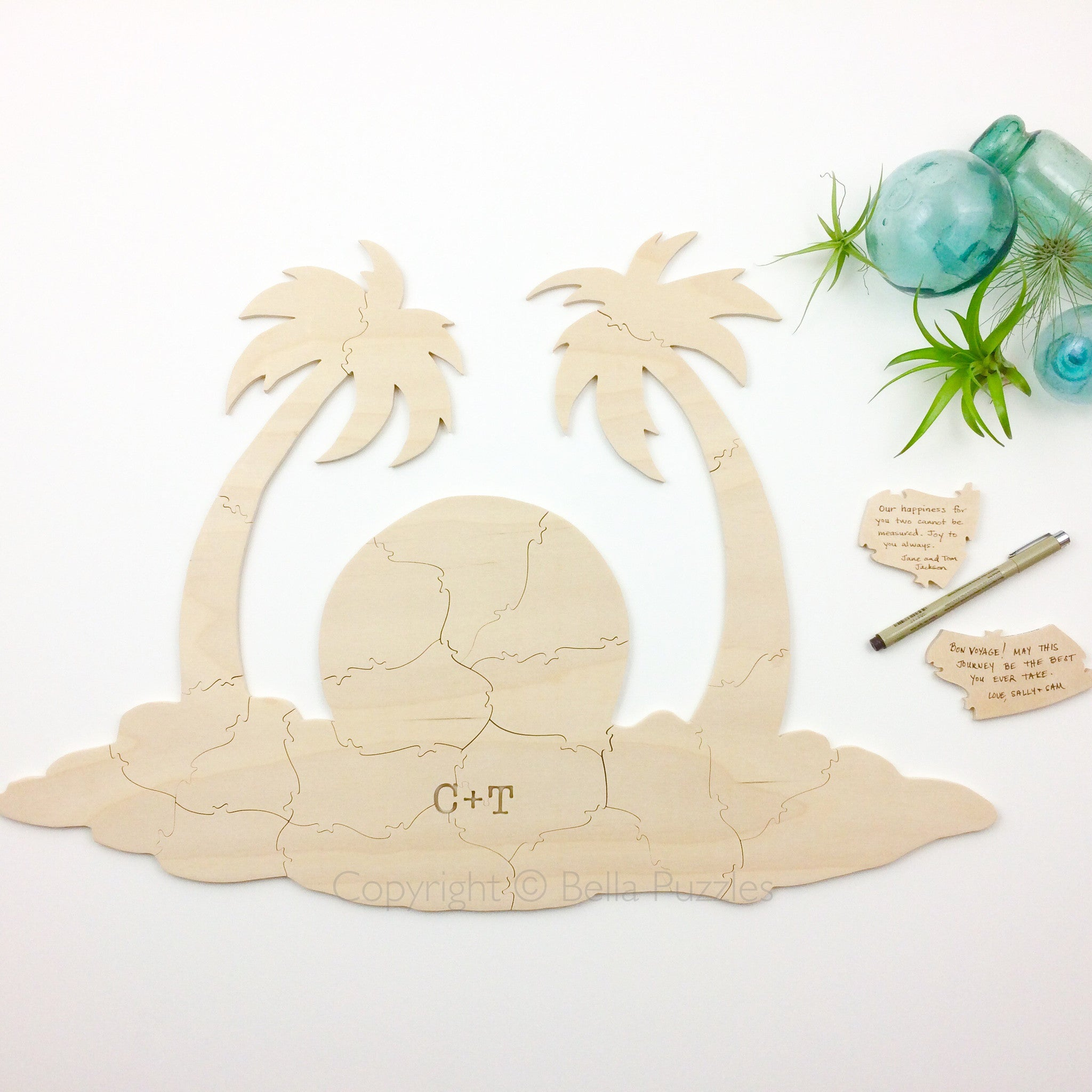 PALM TREE Puzzle Wedding Guest Book