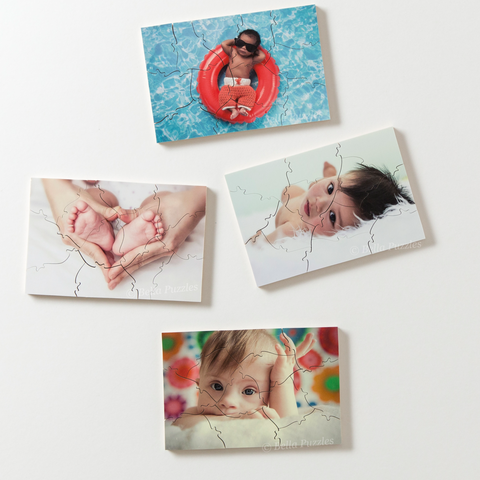 Three examples of gift-sized custom-made wooden photo puzzles. Use puzzles made with your own images for wedding favors, client gifts, birthday presents, or the holidays. Made by BELLA PUZZLES.