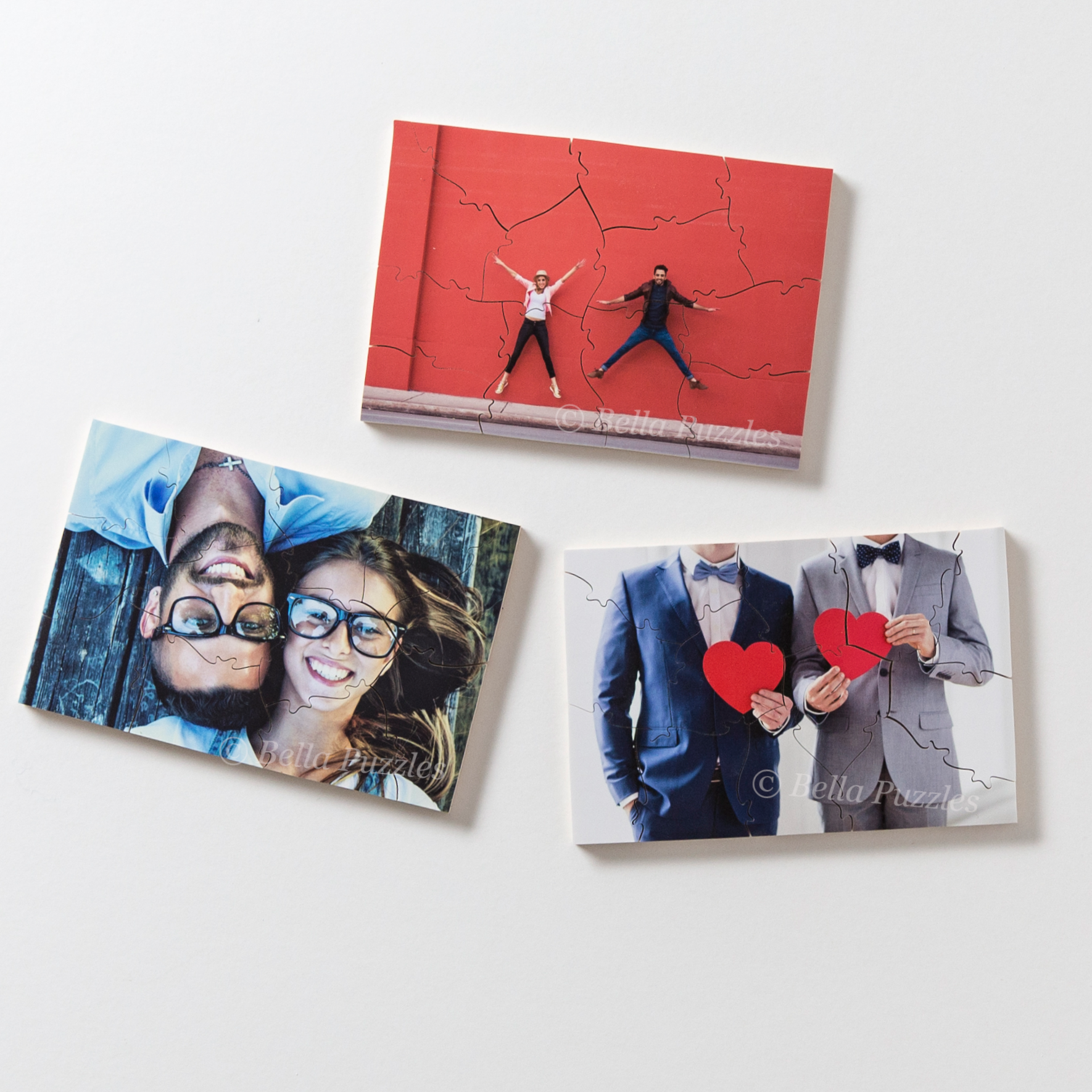 Gift sized custom wooden photo puzzles you can use for wedding favors, client gifts, birthday presents, or the holidays.