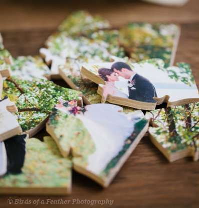 Close-up of a wedding photo turned into a small gift puzzle. Gift-sized custom wooden photo puzzles are ideal for wedding favors, birthday presents, or the holidays. Made by BELLA PUZZLES.