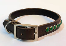 Load image into Gallery viewer, Black/Retro Green Cabachon Leather Dog Collar