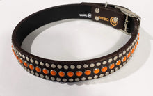 Load image into Gallery viewer, Bear Chocolate/Retro Orange Cabachon/Silver Studded Leather Dog Collar