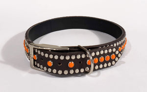 Bear Chocolate/Retro Orange Cabachon/Silver Studded Leather Dog Collar