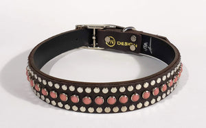 Bear Chocolate/Pink Moon Cabachon/Silver Studded Leather Dog Collar