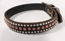 Load image into Gallery viewer, Bear Chocolate/Pink Moon Cabachon/Silver Studded Leather Dog Collar