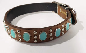 Chesnut/Turquoise Oval Cabachon/Silver Studded Leather Dog Collar