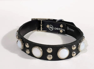 Black/Retro White Opal Cabachon/Silver Studded Leather Dog Collar