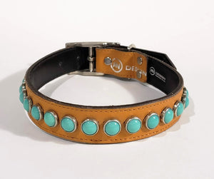 Chesnut/Turquoise Cabachon Leather Dog Collar